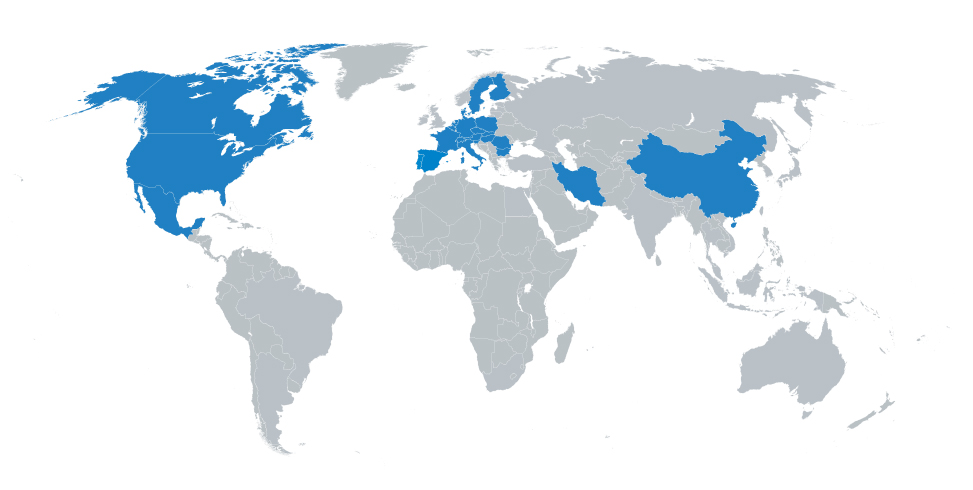 Belgien, Bulgarien, China, Dänemark, Deutschland, Finnland, Frankreich, Iran, Italien, Kanada, Mexiko, Niederlande, Österreich, Polen, Portugal, Rumänien, Schweden, Schweiz, Slowakai, Slowenien, Spanien, Tschechien, Ungarn, USA